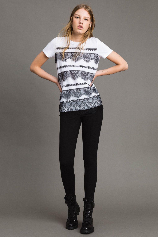 My Twin Damen T-Shirt mit Spitzenbesatz Weiss 2