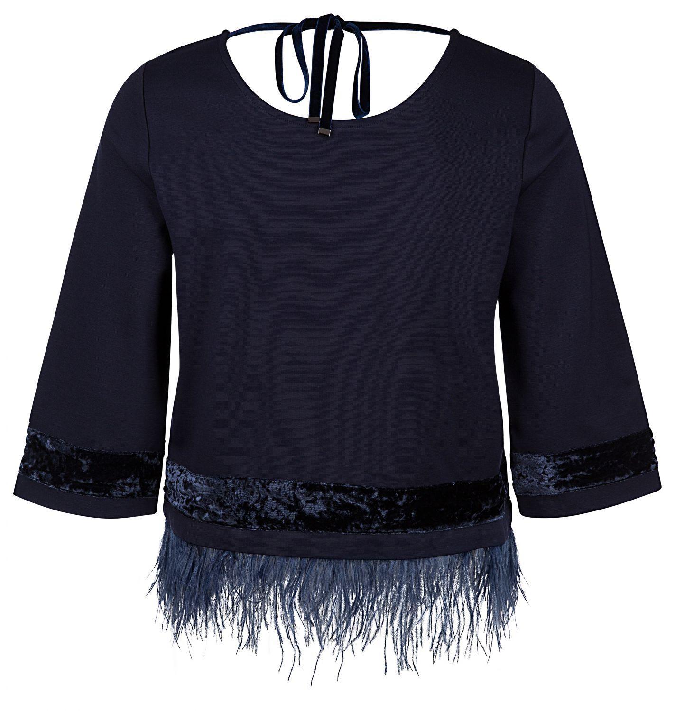 Riani Damen Pullover mit mit Federbesatz Blau 2