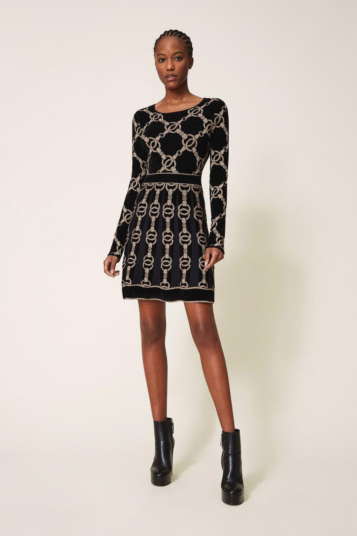 Twin Set Damen Kleid mit Kettendesign Schwarz 2