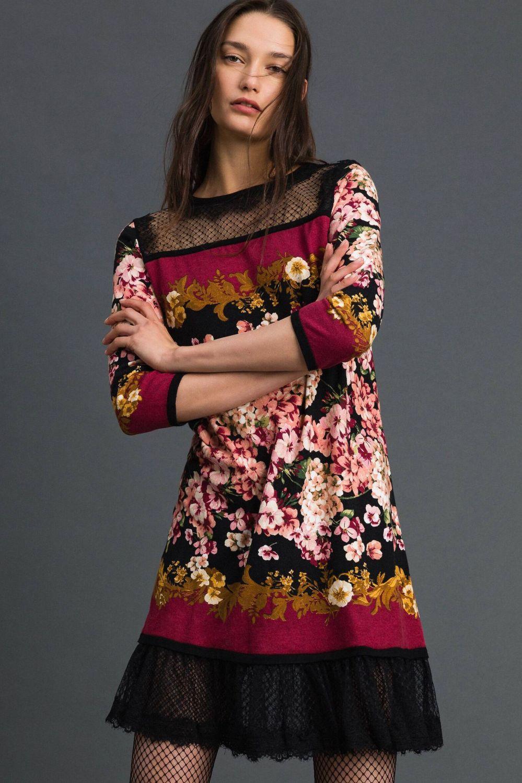 Twin Set Damen Kleid mit Spitzendetails Bordeaux 2