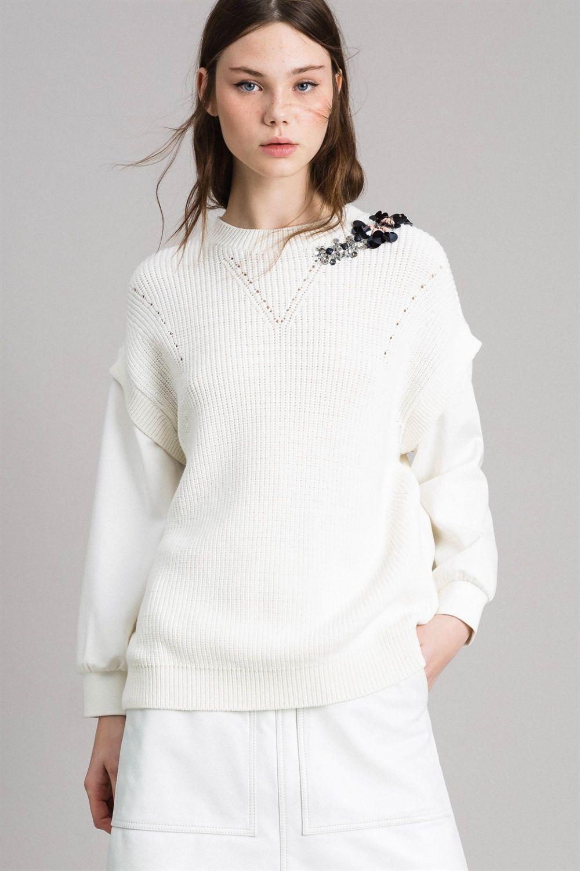 Twin Set Damen Pullover mit Strickeinsatz Bianco Seta 2