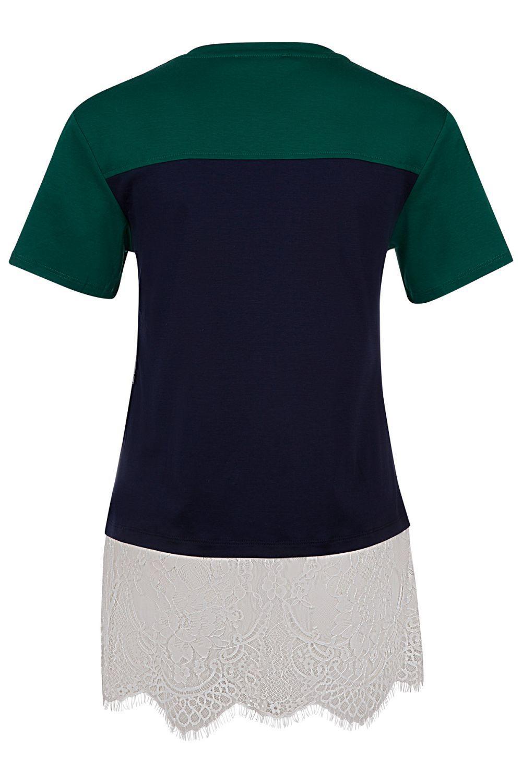 Twin Set Damen T-Shirt mit Spitzenbesatz Grün/Blau 2