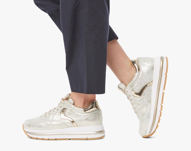 Voile Blanche Damen Plateau Sneaker Maran Vit Silber/Gold 2