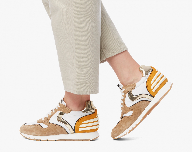 Voile Blanche Damen Sneaker Julia Power Weiss/Cognac 2