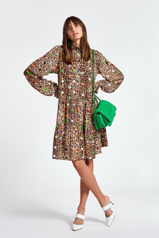 Essentiel Antwerp Damen Kleid mit Leoprint Zex  Braun 3