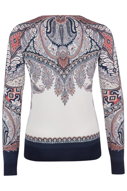 Etro Damen Pullover mit Paisleymuster Marineblau/Weiss 3