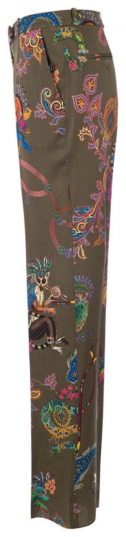 Etro Damen Wollhose mit Print Olive 3