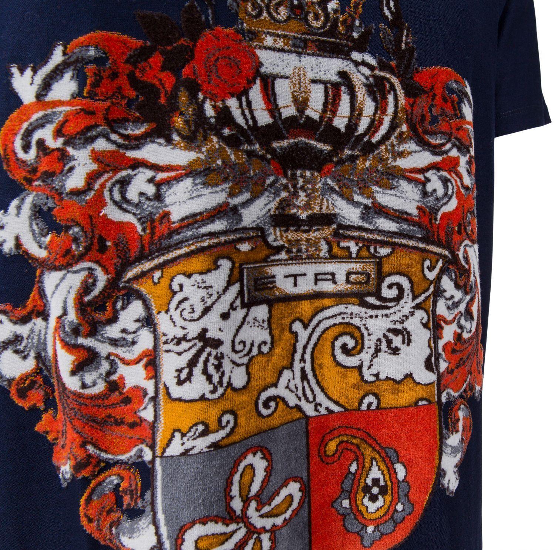 Etro Herren T-Shirt mit Samtdruck Navy 3