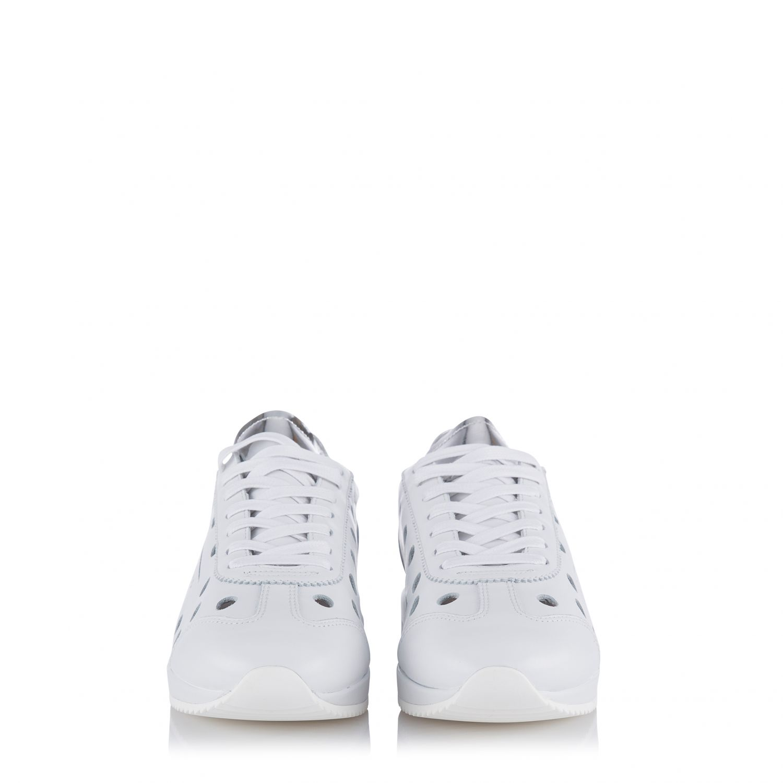 Ghoud Damen Ledersneaker mit Cut-Outs Weiss 3