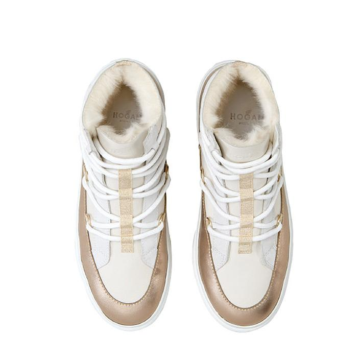 Hogan Damen Hightop Sneaker H342 Weiss/Bronze 3