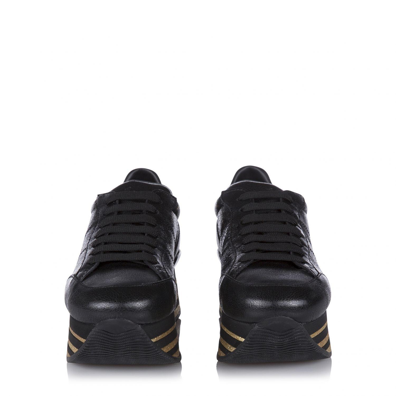 Hogan Damen Plateau Sneaker H368 Maxi Schwarz 3