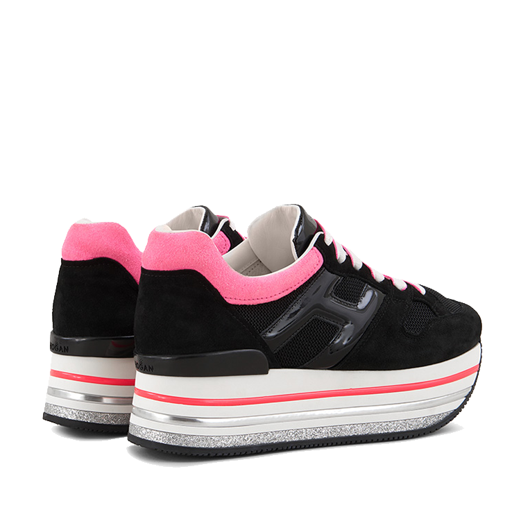 Hogan Damen Plateau Sneaker H422 Schwarz 3