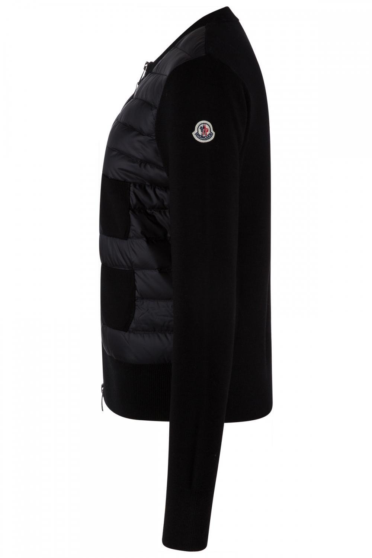 Moncler Damen Strickjacke mit Daunenfront Schwarz 3