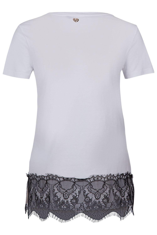 My Twin Damen T-Shirt mit Spitzenbesatz Weiss 3