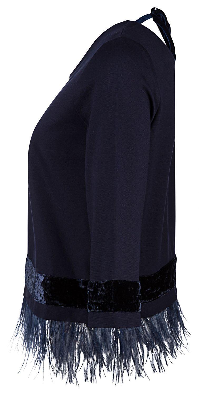 Riani Damen Pullover mit mit Federbesatz Blau 3