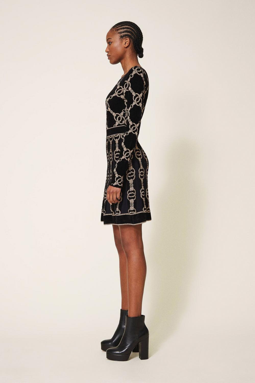 Twin Set Damen Kleid mit Kettendesign Schwarz 3