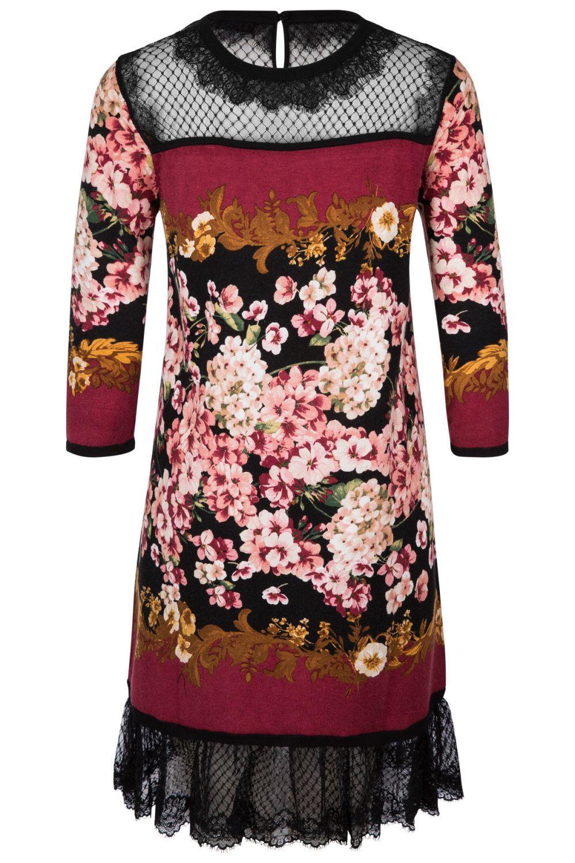 Twin Set Damen Kleid mit Spitzendetails Bordeaux 3