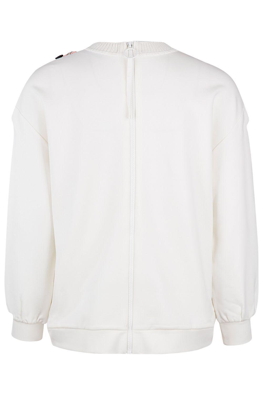 Twin Set Damen Pullover mit Strickeinsatz Bianco Seta 3