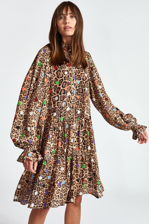 Essentiel Antwerp Damen Kleid mit Leoprint Zex  Braun 4