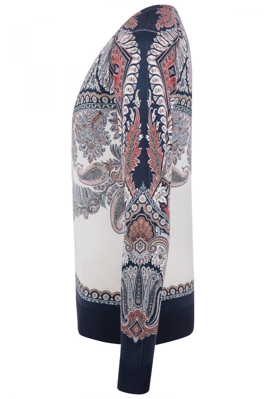 Etro Damen Pullover mit Paisleymuster Marineblau/Weiss 4