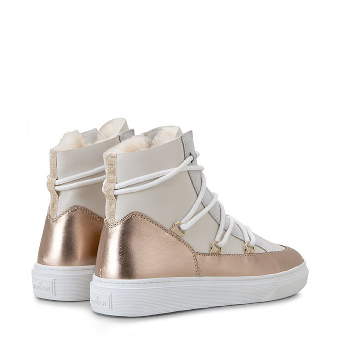 Hogan Damen Hightop Sneaker H342 Weiss/Bronze 4