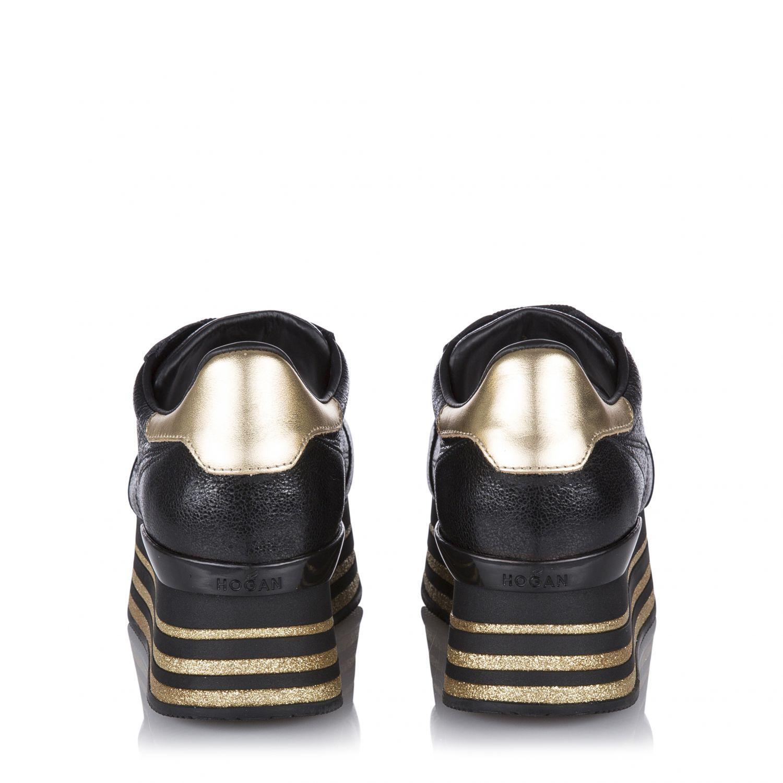 Hogan Damen Plateau Sneaker H368 Maxi Schwarz 4