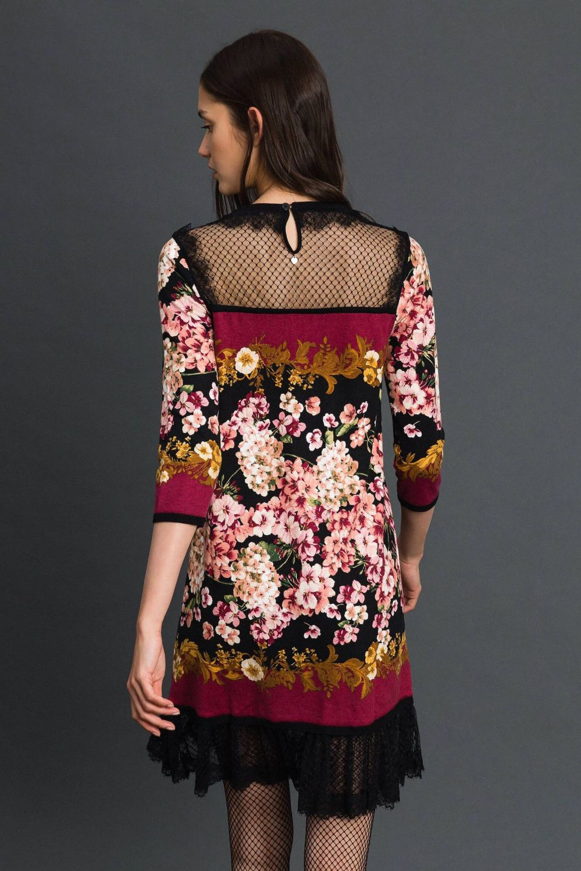 Twin Set Damen Kleid mit Spitzendetails Bordeaux 4