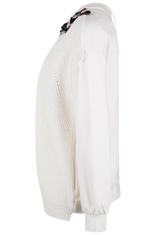 Twin Set Damen Pullover mit Strickeinsatz Bianco Seta 4