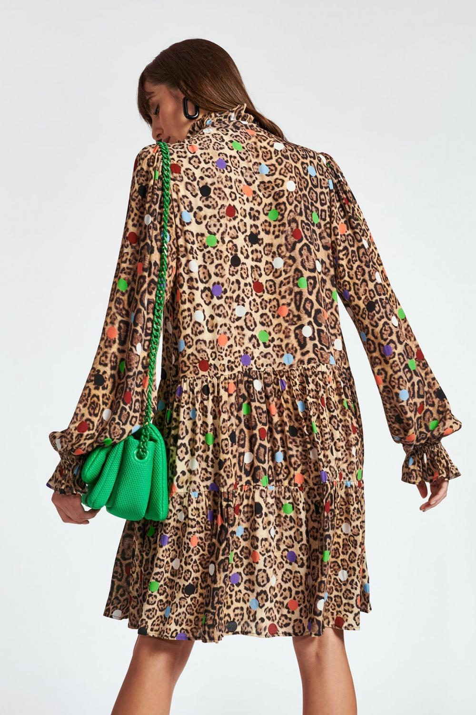 Essentiel Antwerp Damen Kleid mit Leoprint Zex  Braun 5
