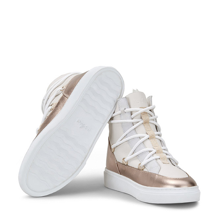 Hogan Damen Hightop Sneaker H342 Weiss/Bronze 5