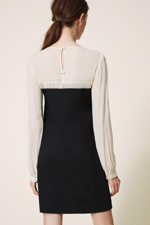 Twin Set Damen Kleid mit Spitze Schwarz