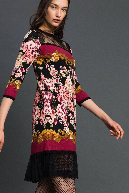Twin Set Damen Kleid mit Spitzendetails Bordeaux 5