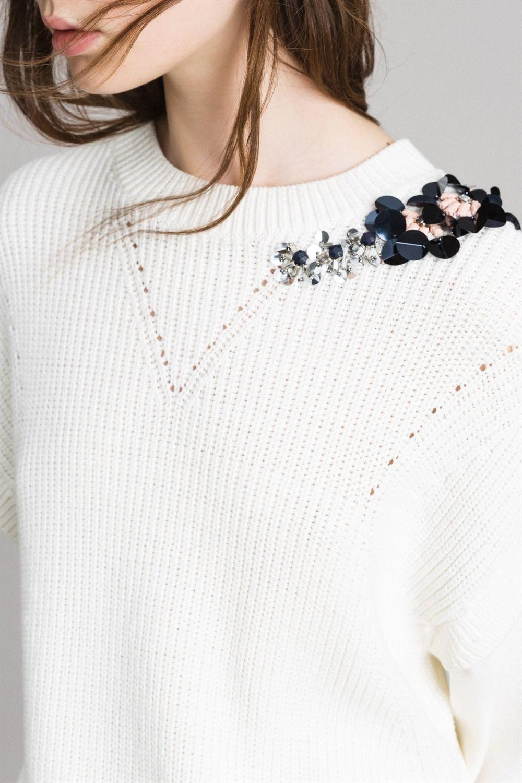Twin Set Damen Pullover mit Strickeinsatz Bianco Seta 5