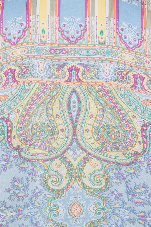 Etro Damen Leinenbluse mit Print Hellblau 6