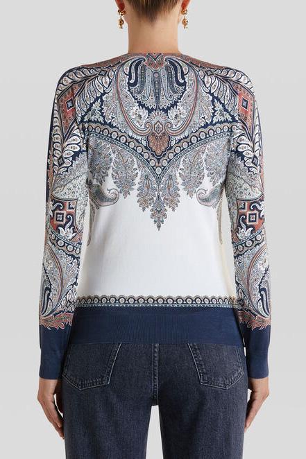 Etro Damen Pullover mit Paisleymuster Marineblau/Weiss 6