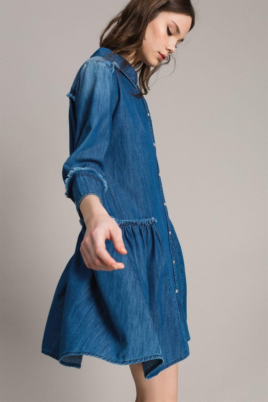 My Twin Damen Jeanskleid Denim Blau 6