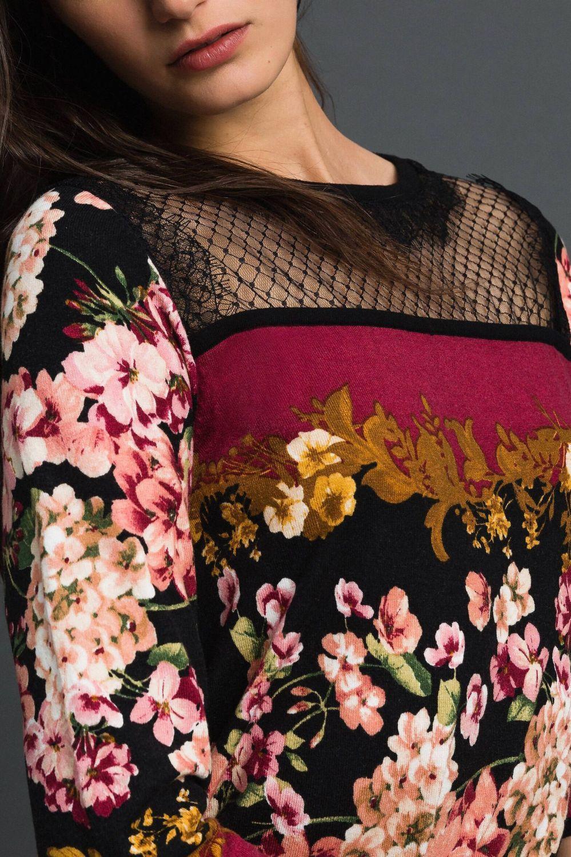 Twin Set Damen Kleid mit Spitzendetails Bordeaux 6