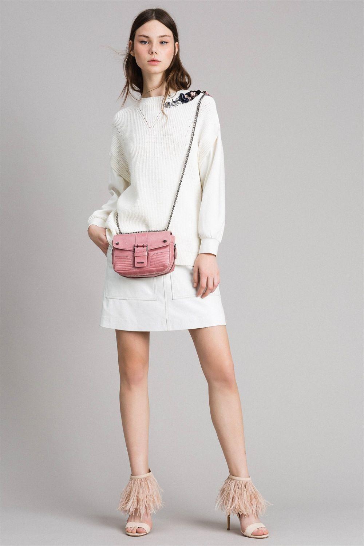 Twin Set Damen Pullover mit Strickeinsatz Bianco Seta 6