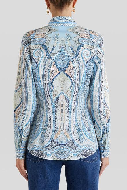 Etro Damen Bluse mit Print Blau 7