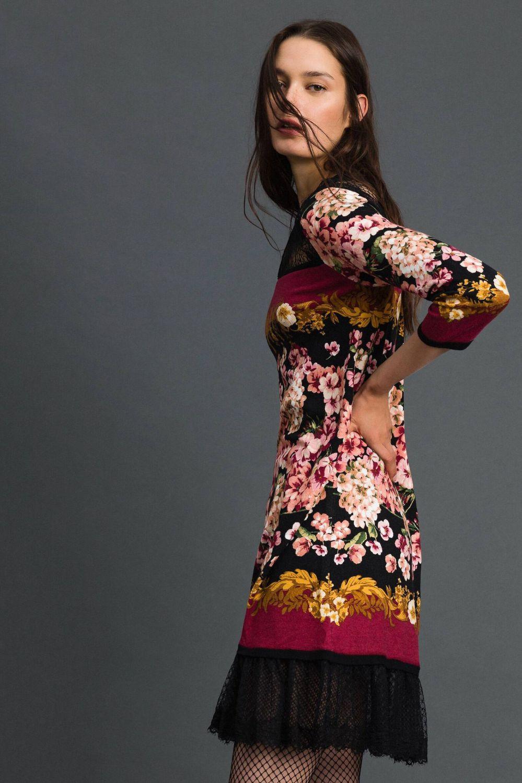 Twin Set Damen Kleid mit Spitzendetails Bordeaux 7