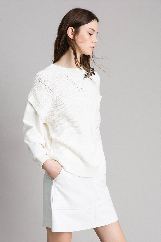 Twin Set Damen Pullover mit Strickeinsatz Bianco Seta 7